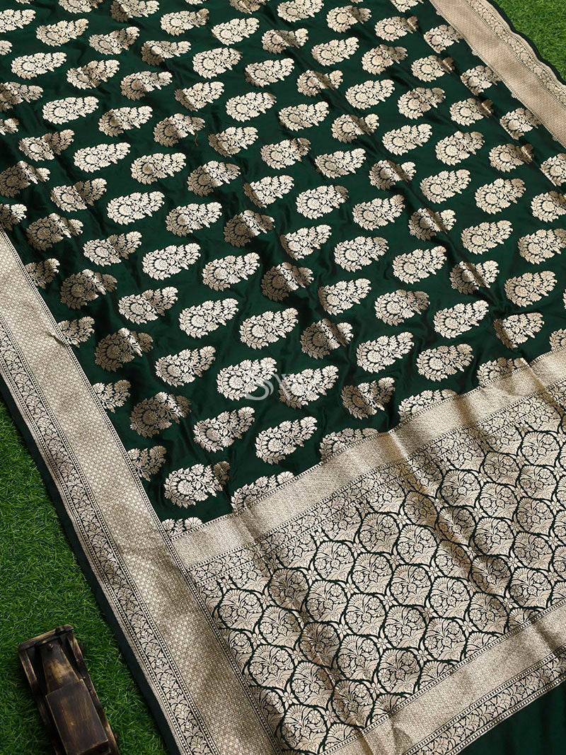 Bottle Green Uppada Katan Silk Handloom Banarasi Saree - Sacred Weaves