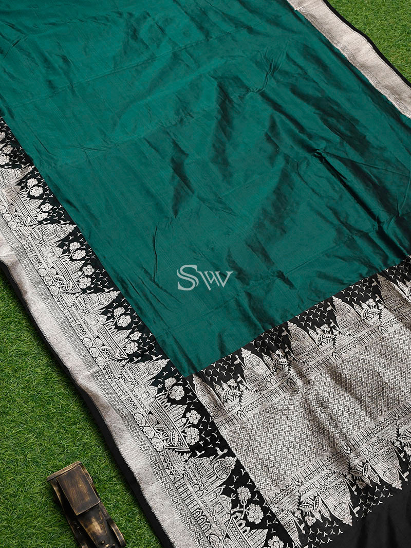 Dark Green Katan Silk Handloom Banarasi Saree - Sacred Weaves