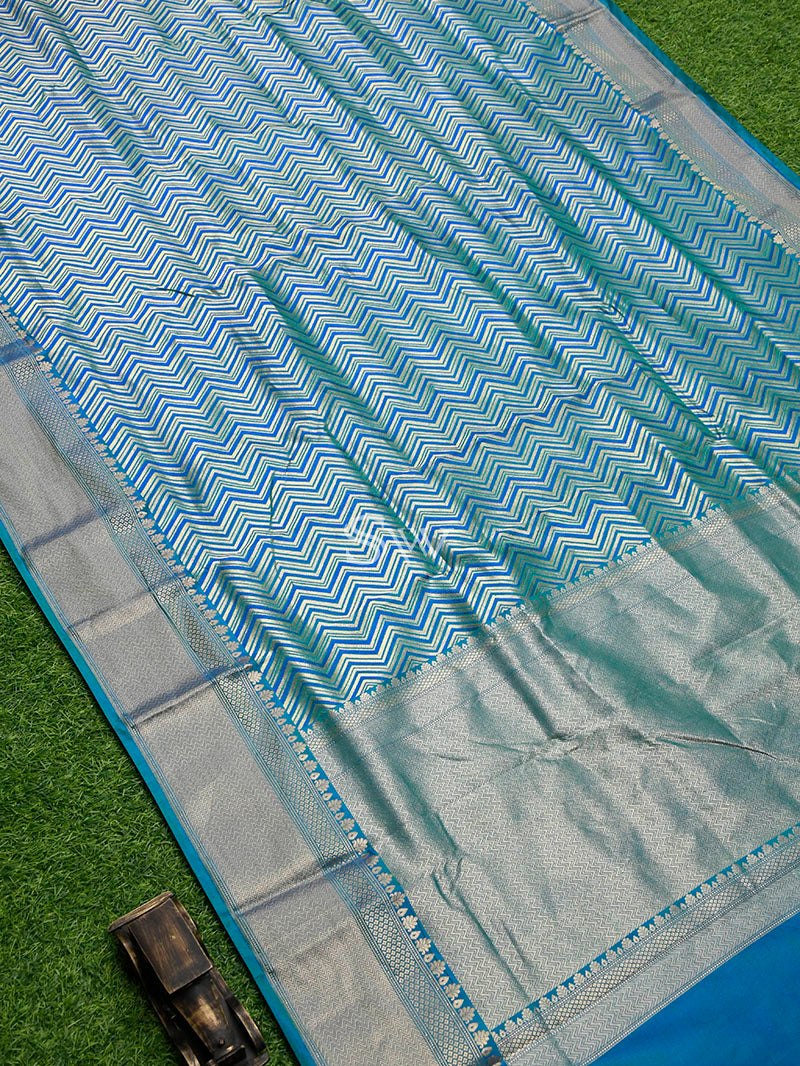 Blue-Green Stripe Katan Silk Handloom Banarasi Saree - Sacred Weaves