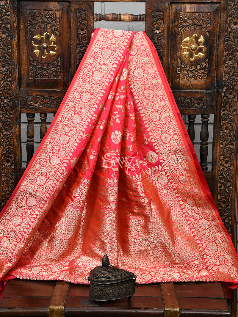 Pink Orange Katan Silk Handloom Banarasi Saree - Sacred Weaves