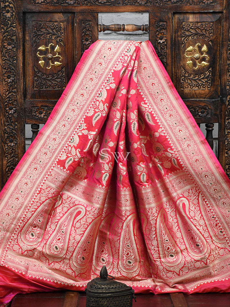 Pink-Orange Meenakari Uppada Katan Silk Handloom Banarasi Saree - Sacred Weaves