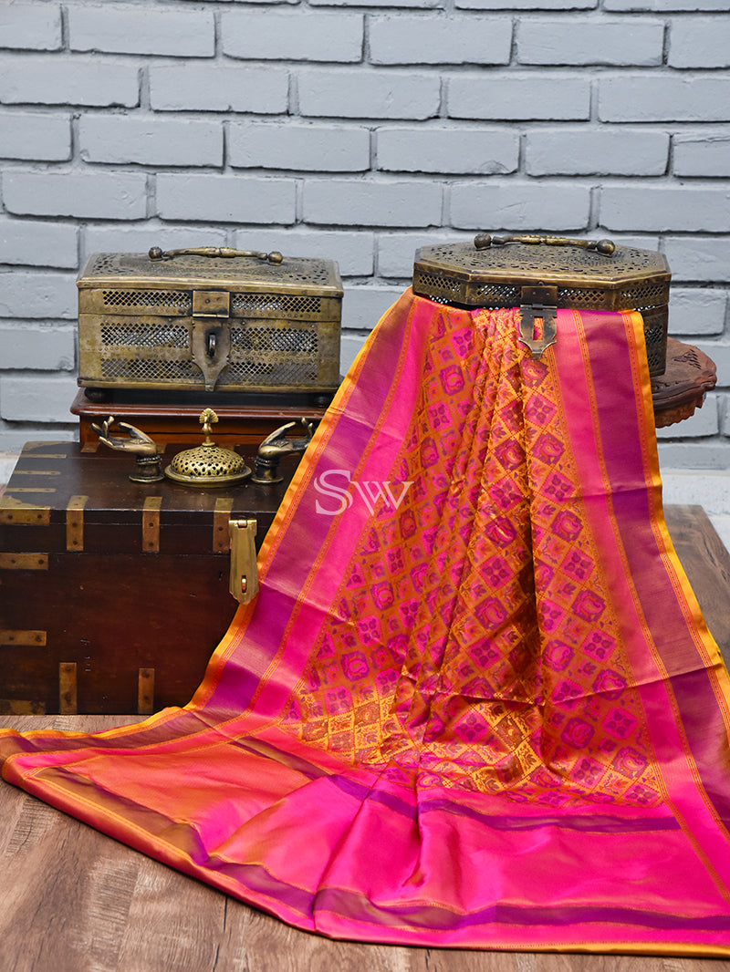 Yellow Pink Tanchoi Silk Handloom Banarasi Saree - Sacred Weaves