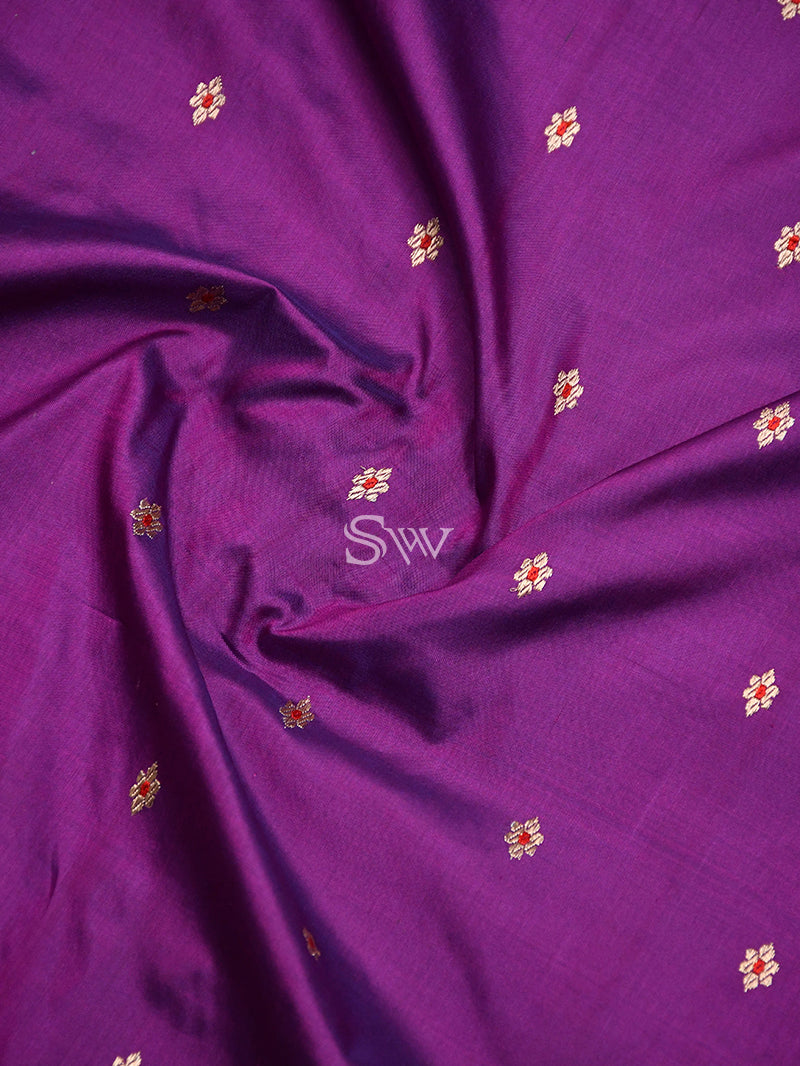 Purple Meenakari Katan Silk Handloom Banarasi Saree - Sacred Weaves