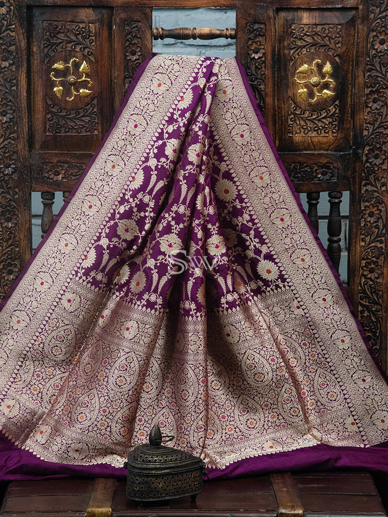 Dark Purple Meenakari Uppada Katan Silk Handloom Banarasi Saree - Sacred Weaves