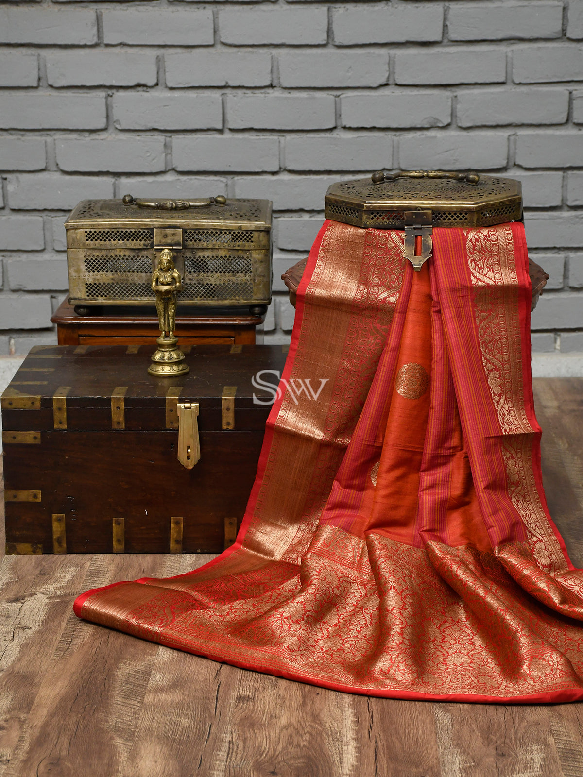 Rust Tussar Silk Handloom Banarasi Saree-Sacred Weaves