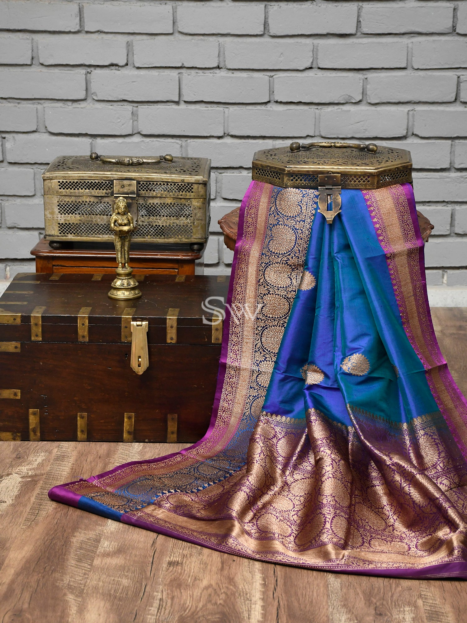 Blue-Green Boota Katan Silk Handloom Banarasi Saree - Sacred Weaves