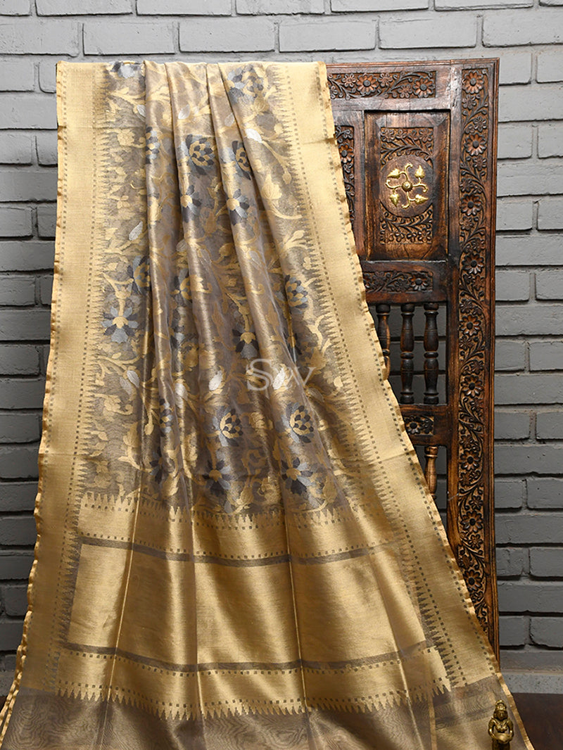 Grey Tissue Net Handloom Banarasi Saree - Sacred Weaves