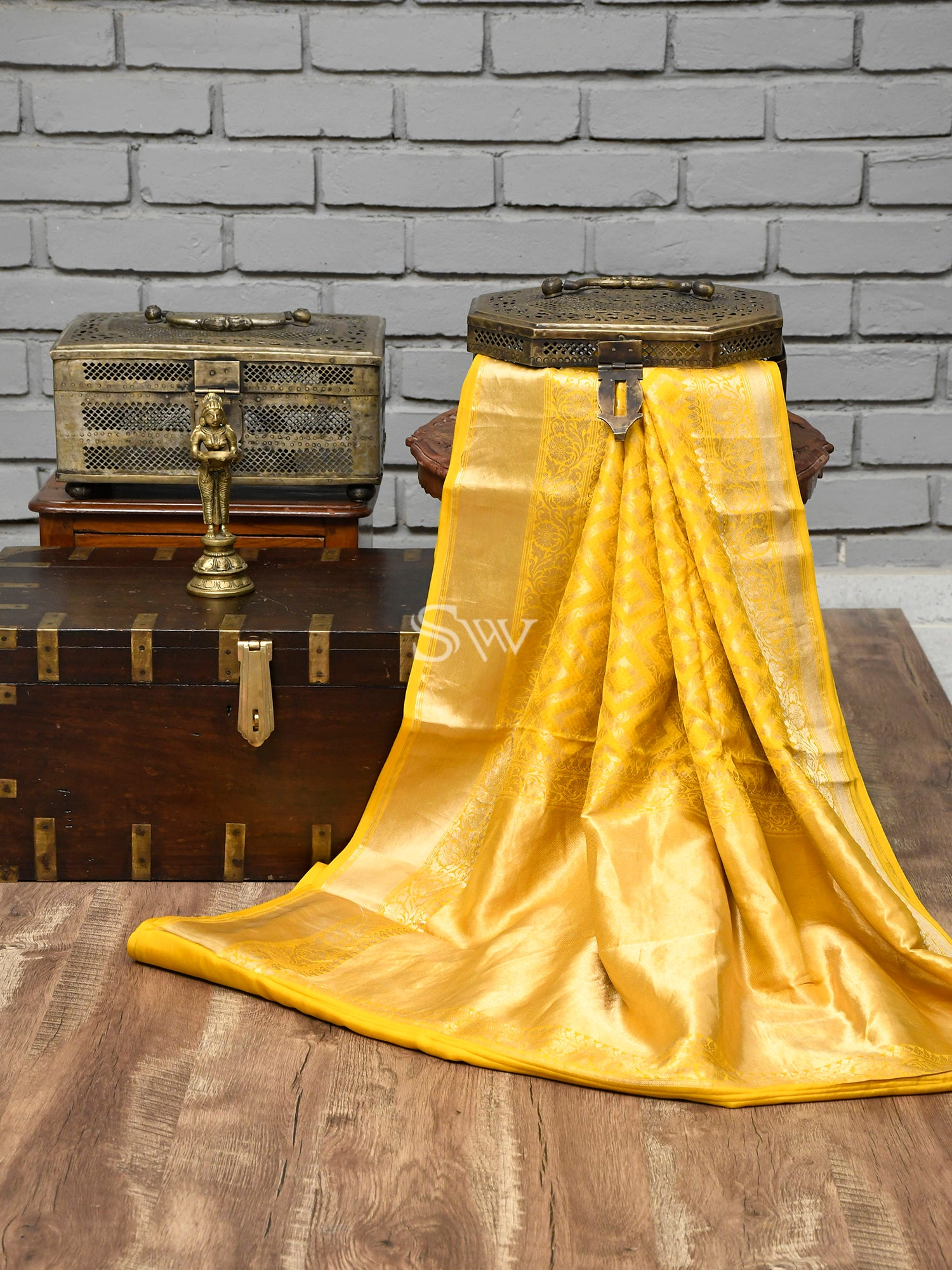 Yellow Tanchoi Silk Handloom Handloom Banarasi Saree -Sacred Weaves