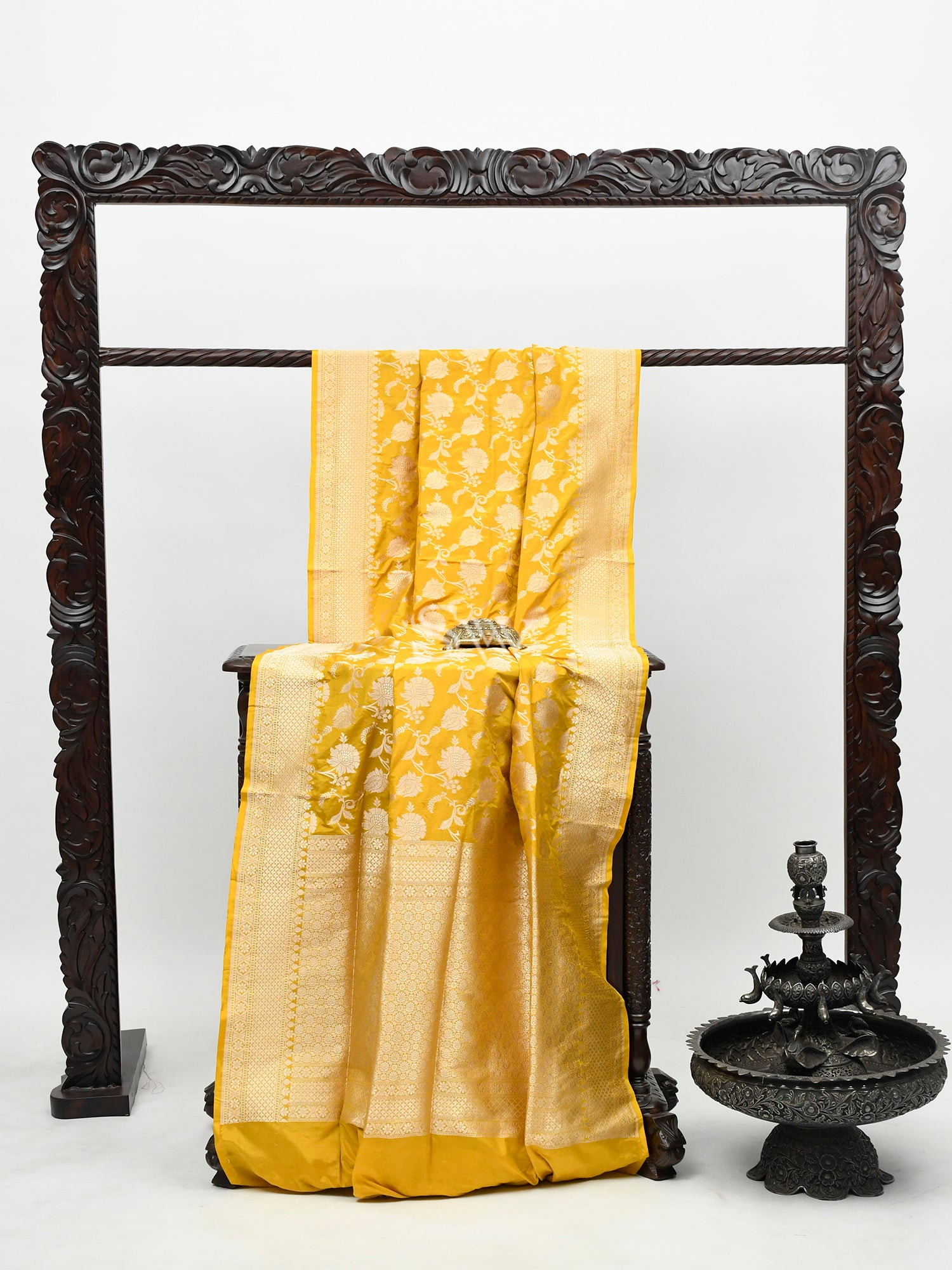 Yellow Uppada Katan Silk Handloom Banarasi Saree -Sacred Weaves