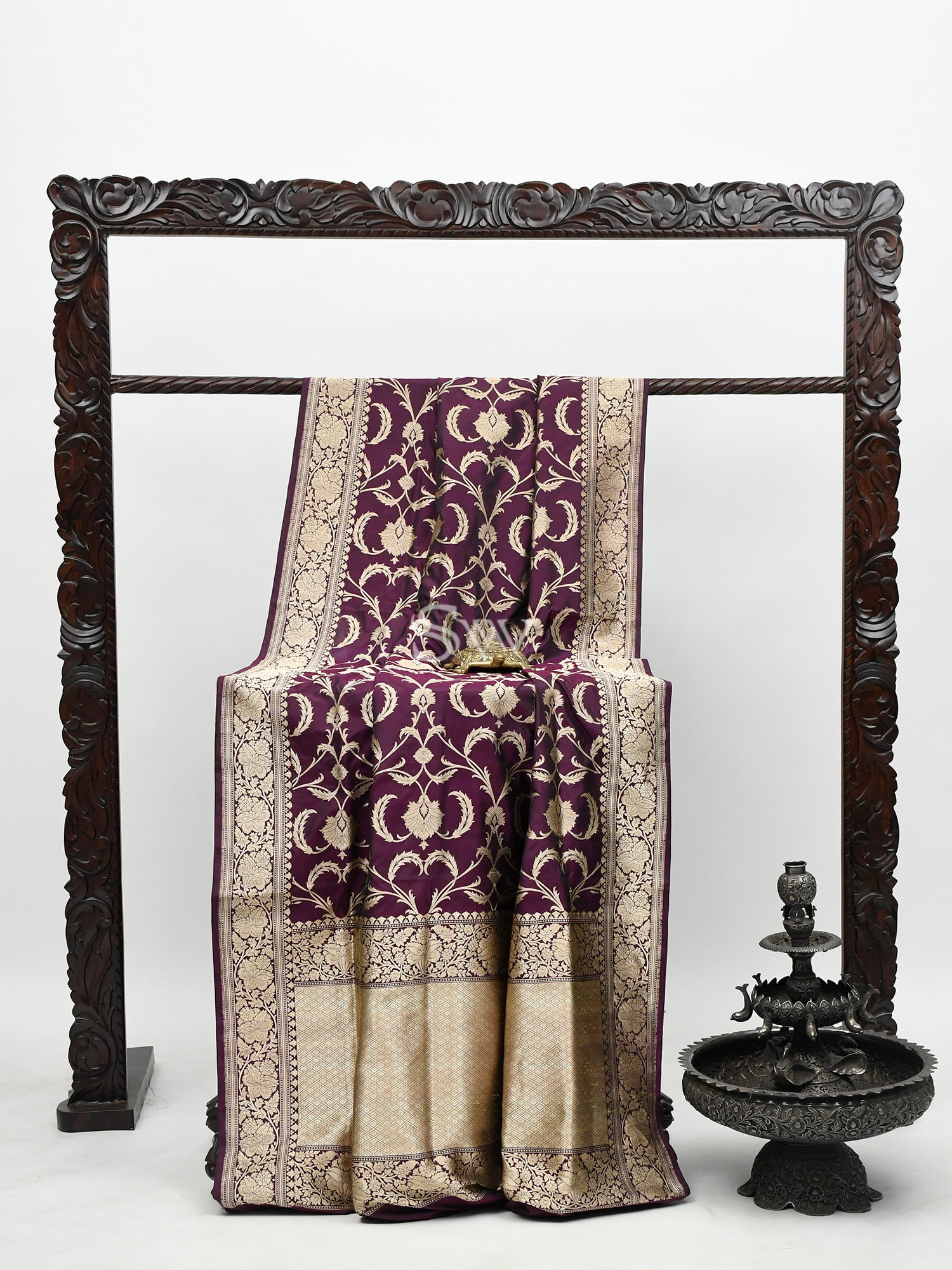 Dark Purple Katan Silk Handloom Banarasi Saree -Sacred Weaves