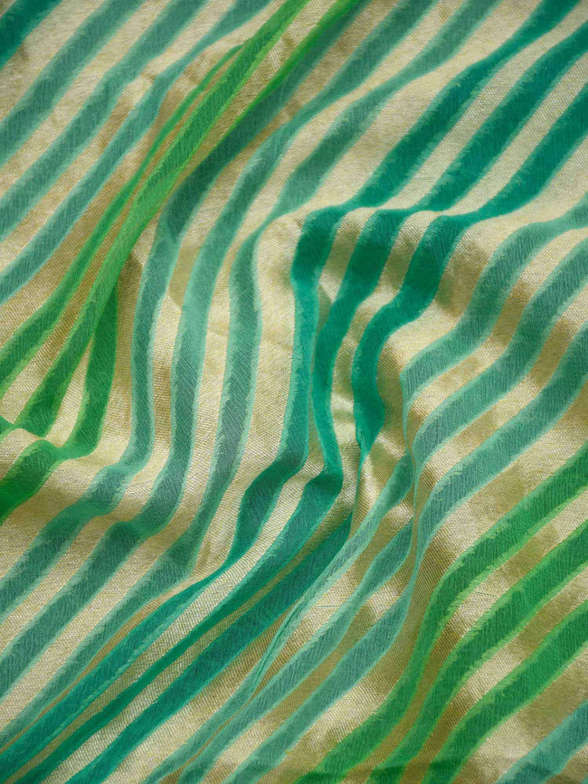 Sea Green Rangkat Gold Zari Stripe Pure Khaddi Georgette Banarasi Saree - Sacred Weaves