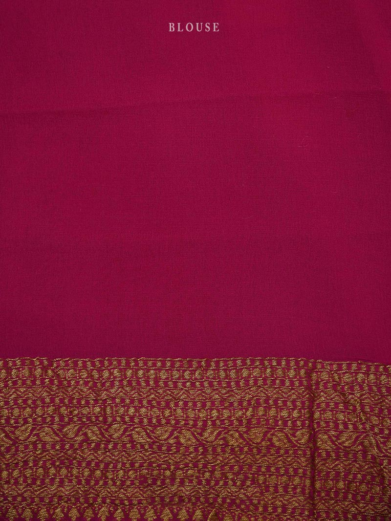 Yellow Khaddi Georgette Mantra Handloom Banarasi Saree - Sacred Weaves