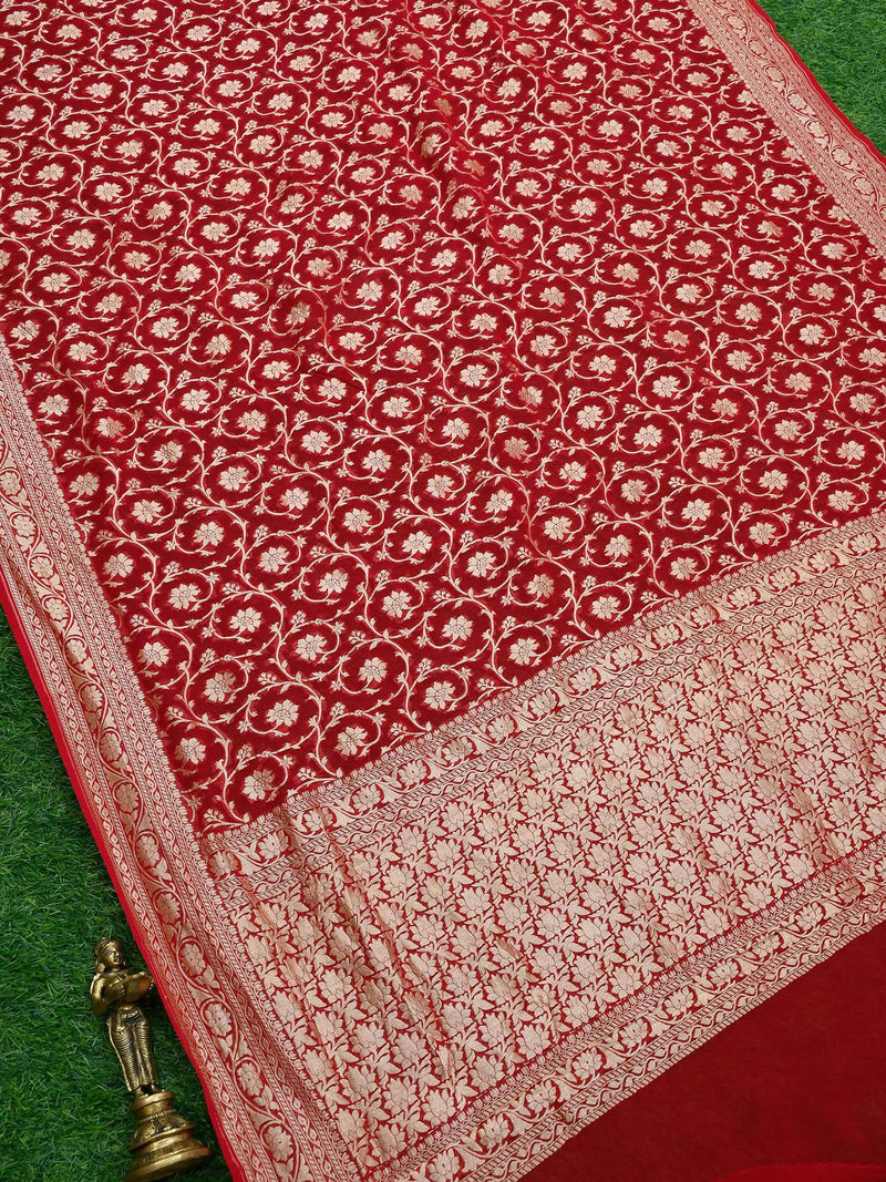 Gorgeous Red Color Floral Jaal Pure Khaddi Georgette Silk Banarasi Saree- Sacred Weaves