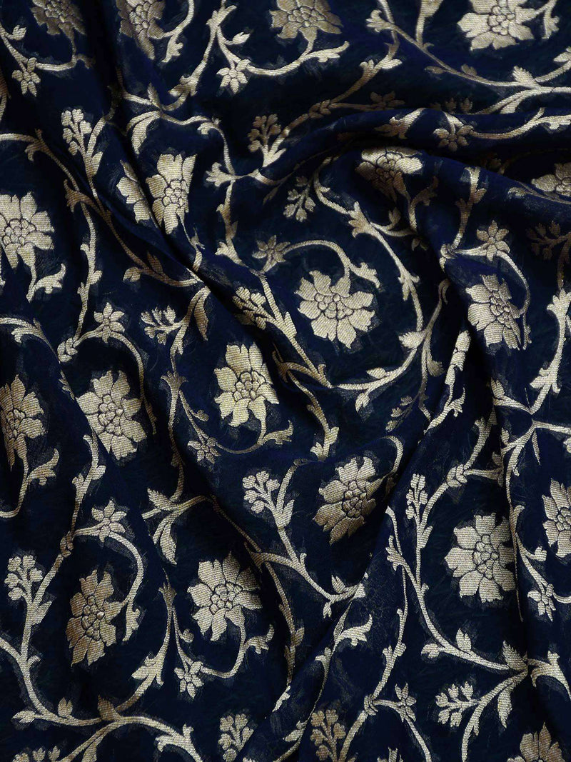 Navy Blue Color Floral Jaal Pure Khaddi Georgette Silk Banarasi Saree-Sacred Weaves