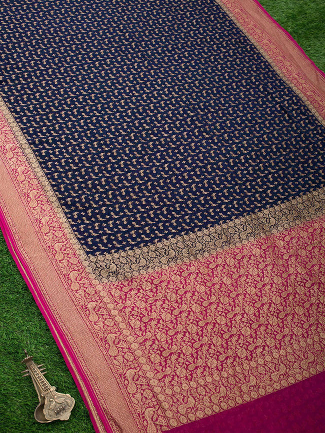 Navy Blue Color Antique Zari Shikargah Pure Khaddi Silk Banarasi Saree - Sacred Weaves