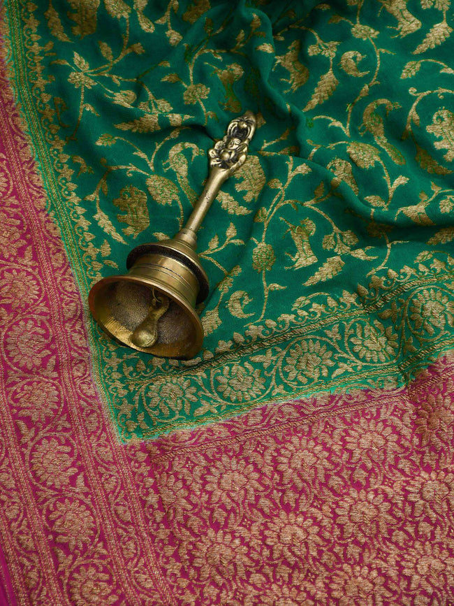 Teal Green Color Antique Zari Shikargah Jaal Pure Khaddi Silk Banarasi Saree - Sacred Weaves
