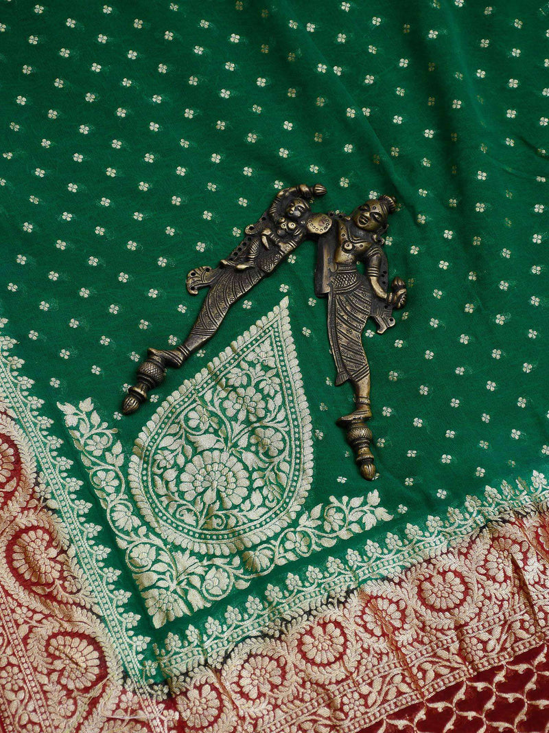 Emerald Green Color Gold Zari Booti Konia Pure Khaddi Georgette Silk Banarasi Saree-Sacred Weaves