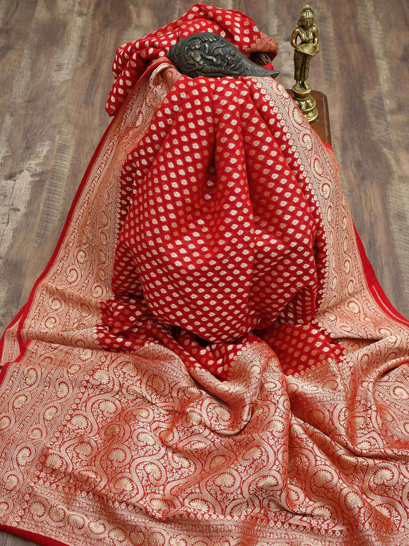 Gorgeous Red Color Gold Zari Border Pure Khaddi Georgette Banarasi Saree - Sacred Weaves