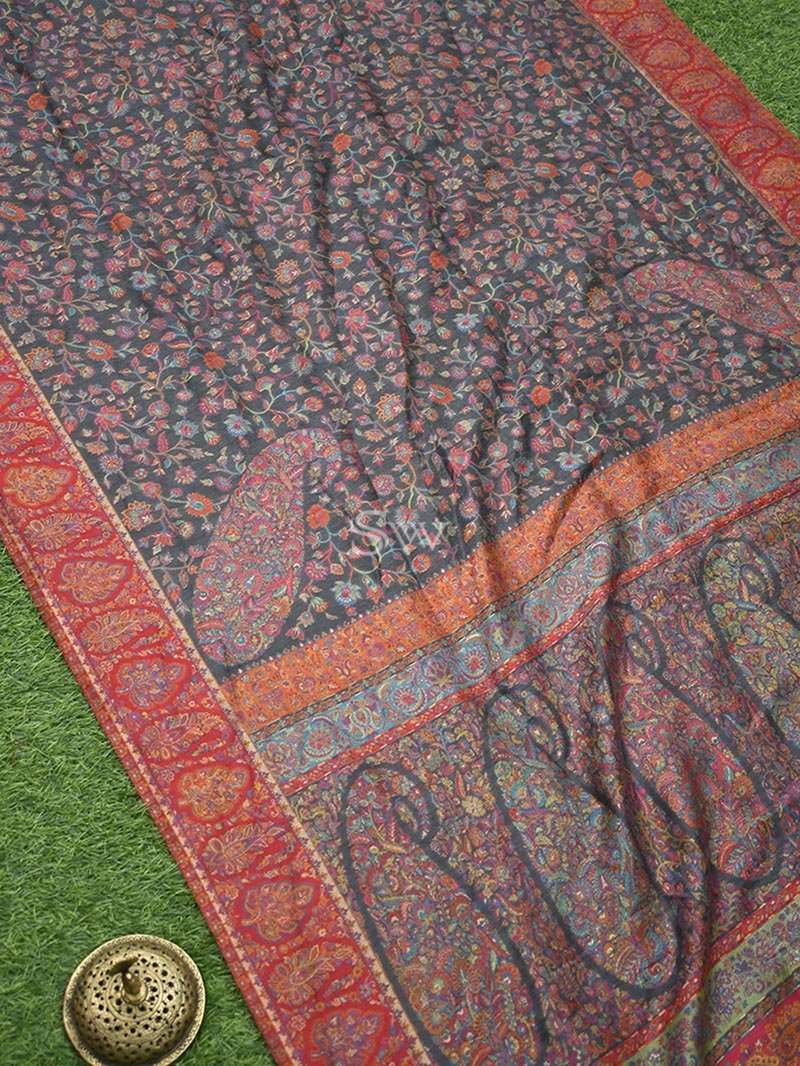 Grey Moonga Tussar Silk Handloom Banarasi Saree - Sacred Weaves