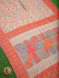Off White Resham Jaal Pure Moonga Tussar Silk Kani Saree - Sacred Weaves