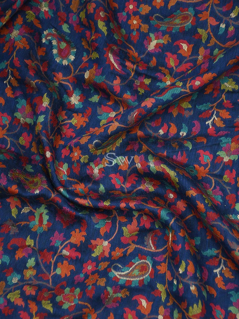Midnight Blue Moonga Tussar Silk Handloom Banarasi Saree - Sacred Weaves