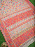 Off White Resham Zari Jaal Pure Moonga Tussar Silk Kani Saree - Sacred Weaves