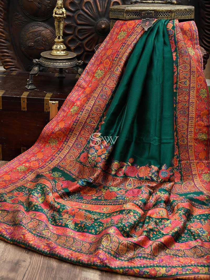 Green Moonga Tussar Silk Handloom Banarasi Saree - Sacred Weaves