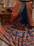 Blue Moonga Tussar Silk Banarasi Handloom Saree - Sacred Weaves