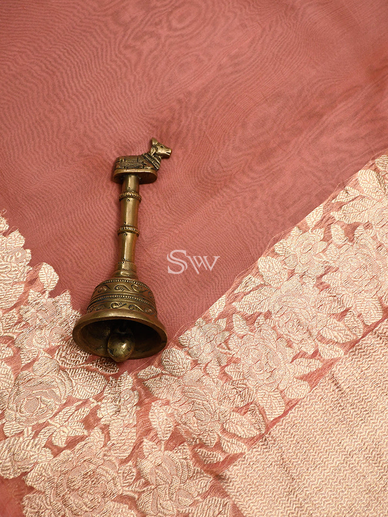 Peach Organza Handloom Banarasi Saree - Sacred Weaves