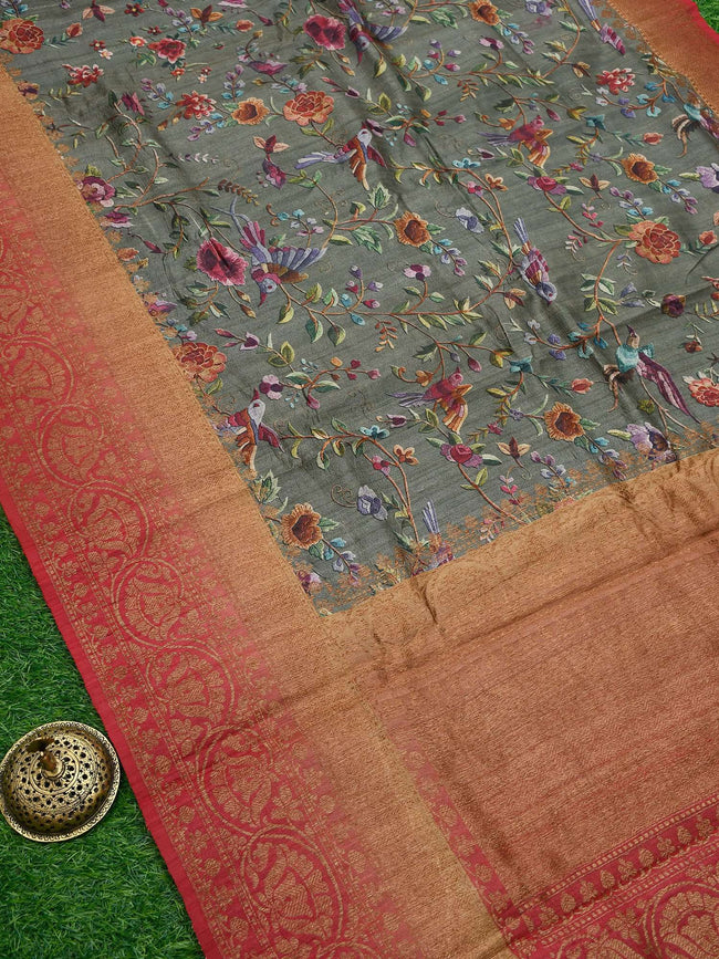 Subdued Green Color Zari Broad Border Pure Tussar Silk Banarasi Saree - Sacred Weaves
