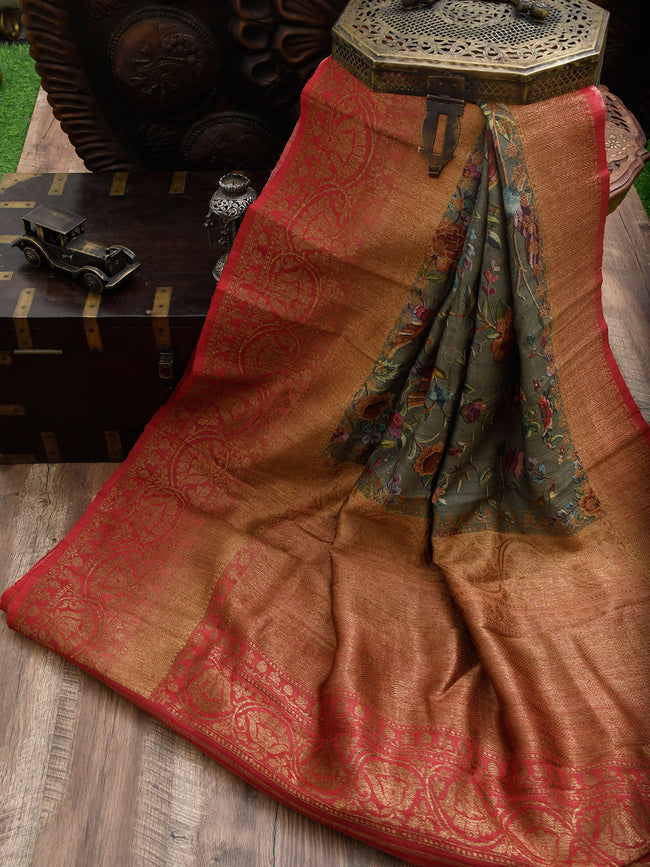 Subdued Green Tusser Silk Banarasi Handloom Saree - Sacred Weaves