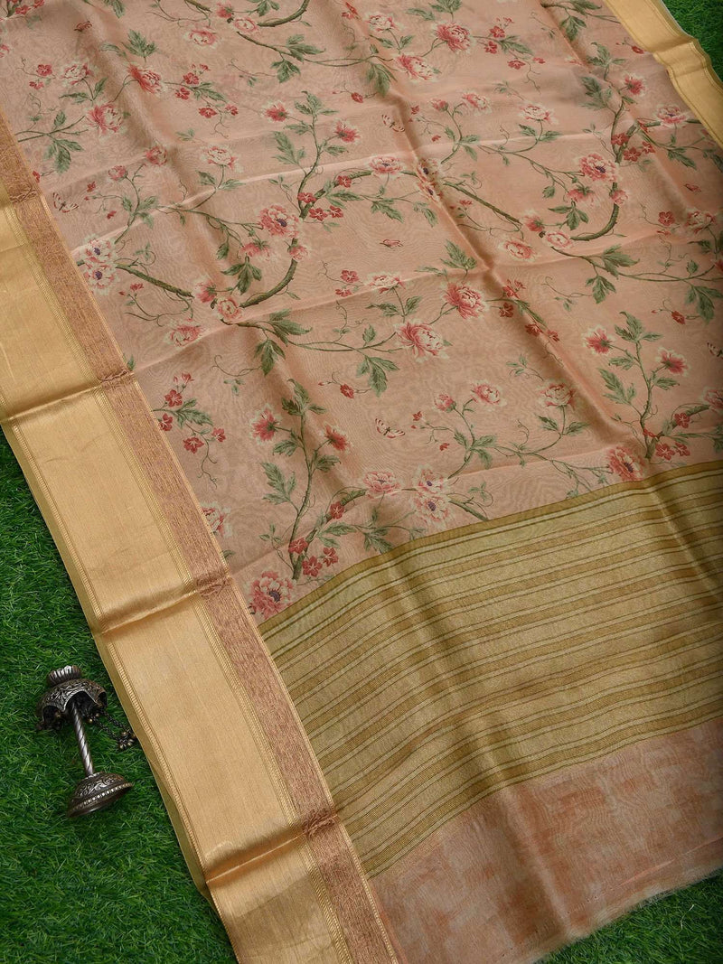 Coral Peach Color Zari Border Pure Kora Silk Banarasi Saree-Sacred Weaves