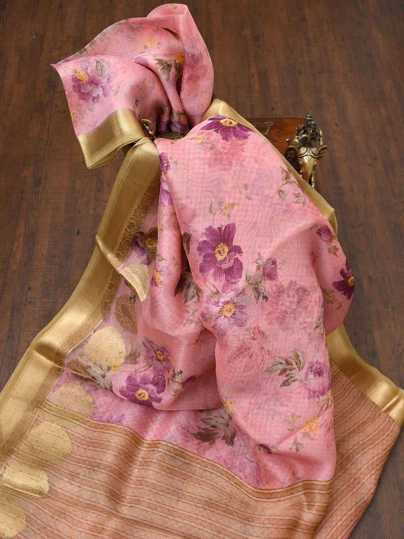 Rose Pink Color Gold Zari Skirt Border Pure Kora Silk Banarasi Saree-Sacred Weaves