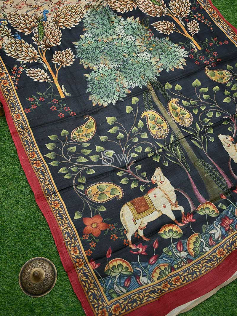 Splendid Black Color Mural Printed Pure Tusser Silk Banarasi Saree - Sacred Weaves