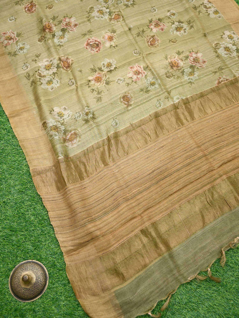 Olive Green Antique Zari Broad Border Pure Tussar Silk Banarasi Saree- Sacred Weaves
