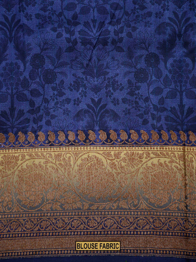 Blue Color Floral Zaal Printed Pure Crepe Silk Banarasi Saree - Sacred Weaves