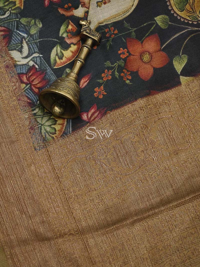 Dark Wine Tussar Silk Printed Banarasi Saree - Sacred Weaves
