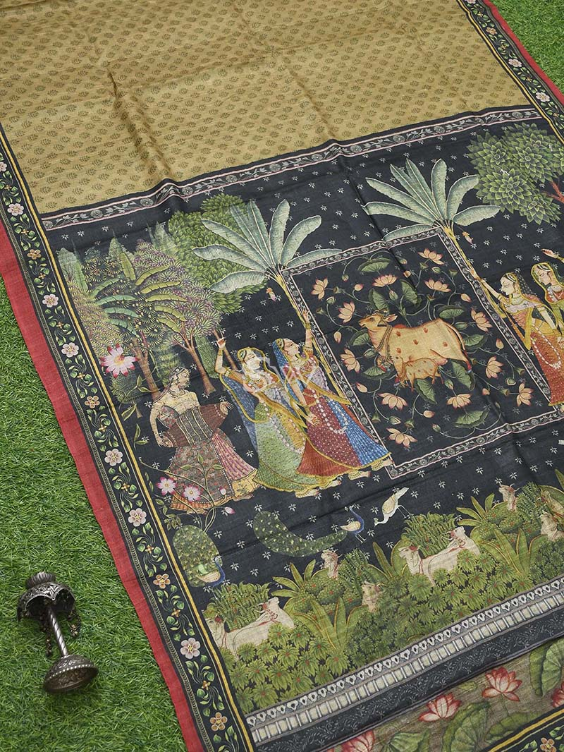 Olive Green Tussar Silk Handloom Banarasi Saree - Sacred Weaves