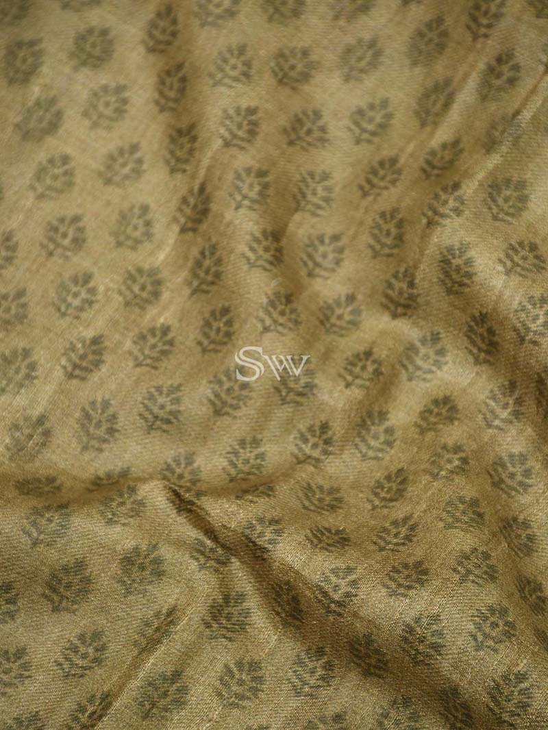 Olive Green Tussar Silk Printed Banarasi Saree - Sacred Weaves