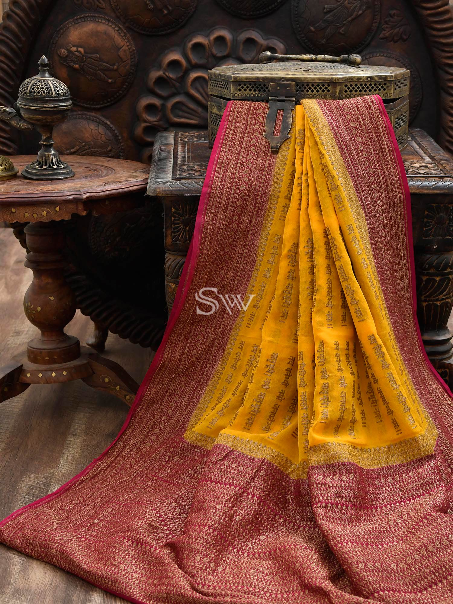 Yellow Mantra Khaddi Georgette Banarasi Handloom Saree - Sacred Weaves