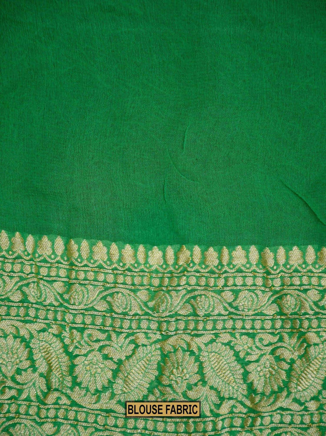 Shades Of Green Rangkat Zari Jaal Pure Khaddi Georgette Banarasi Saree - Sacred Weaves
