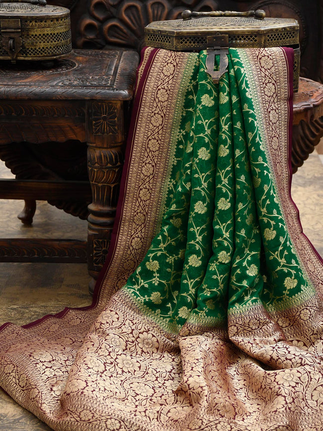Green Khaddi Georgette Banarasi Handloom Saree - Sacred Weaves