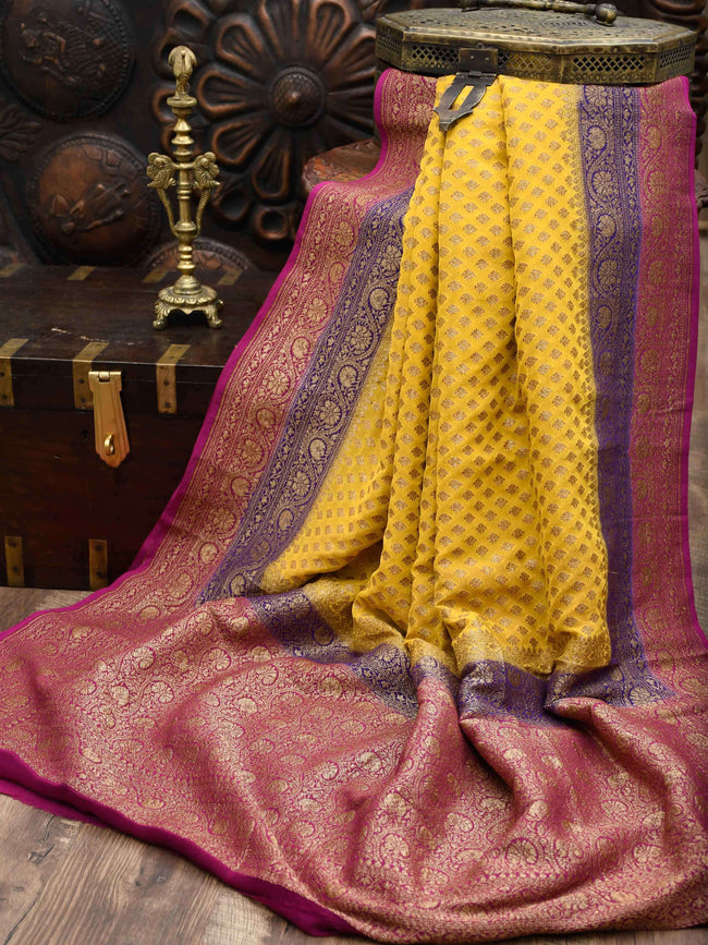 Yellow Color Contrast Border Pure Khaddi Georgette Banarasi Saree - Sacred Weaves