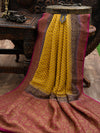 Yellow Khaddi Georgette Banarasi Handloom Saree - SACRED WEAVES