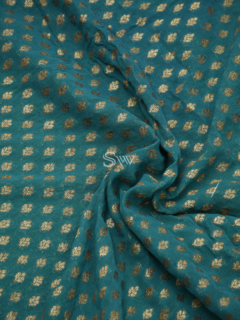 Teal Green Khaddi Georgette Handloom Banarasi Saree - Sacred Weaves