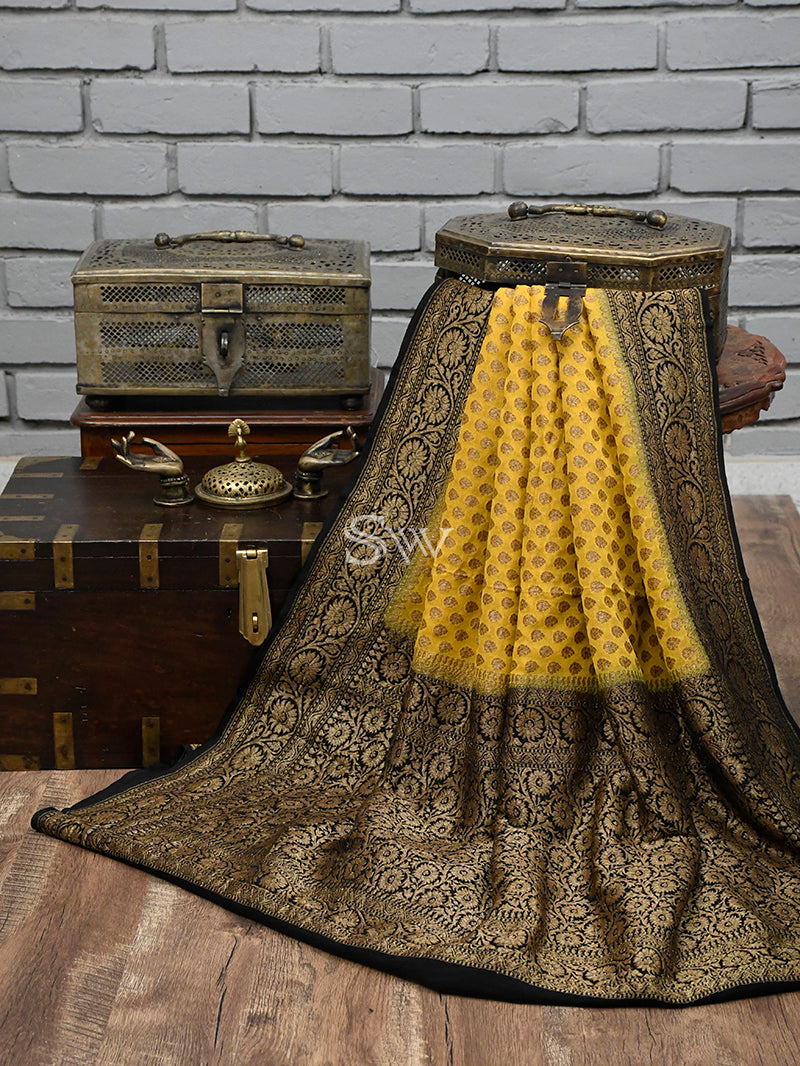 Yellow Khaddi Georgette Handloom Banarasi Saree - Sacred Weaves