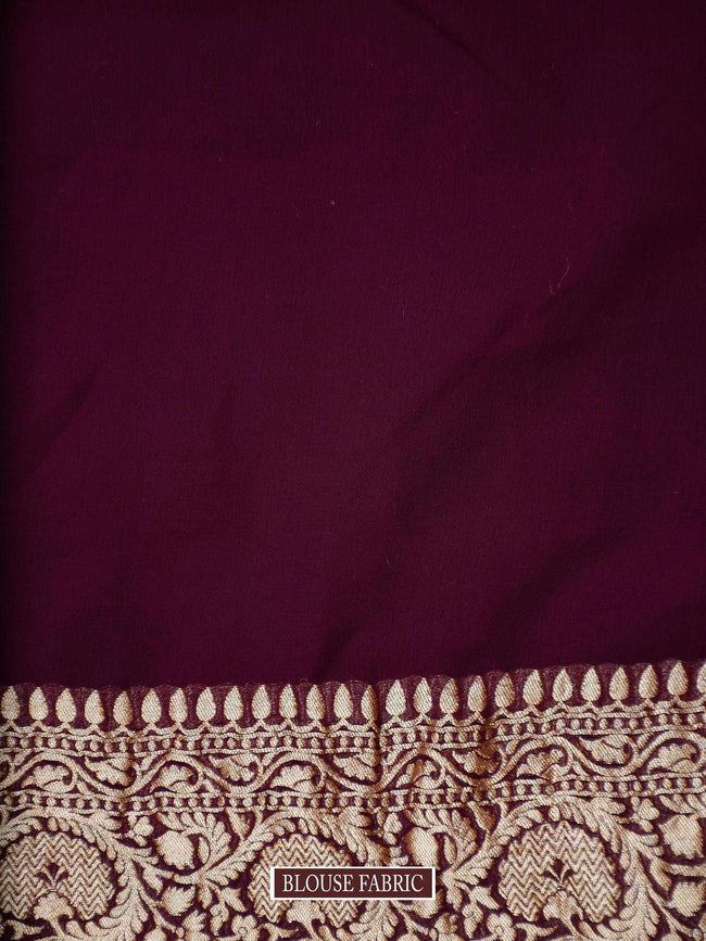 Navy Blue Konia Pure Khaddi Georgette Banarasi Saree - Sacred Weaves