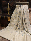 Off White Tusser Georgette Banarasi Handloom Saree - Sacred Weaves