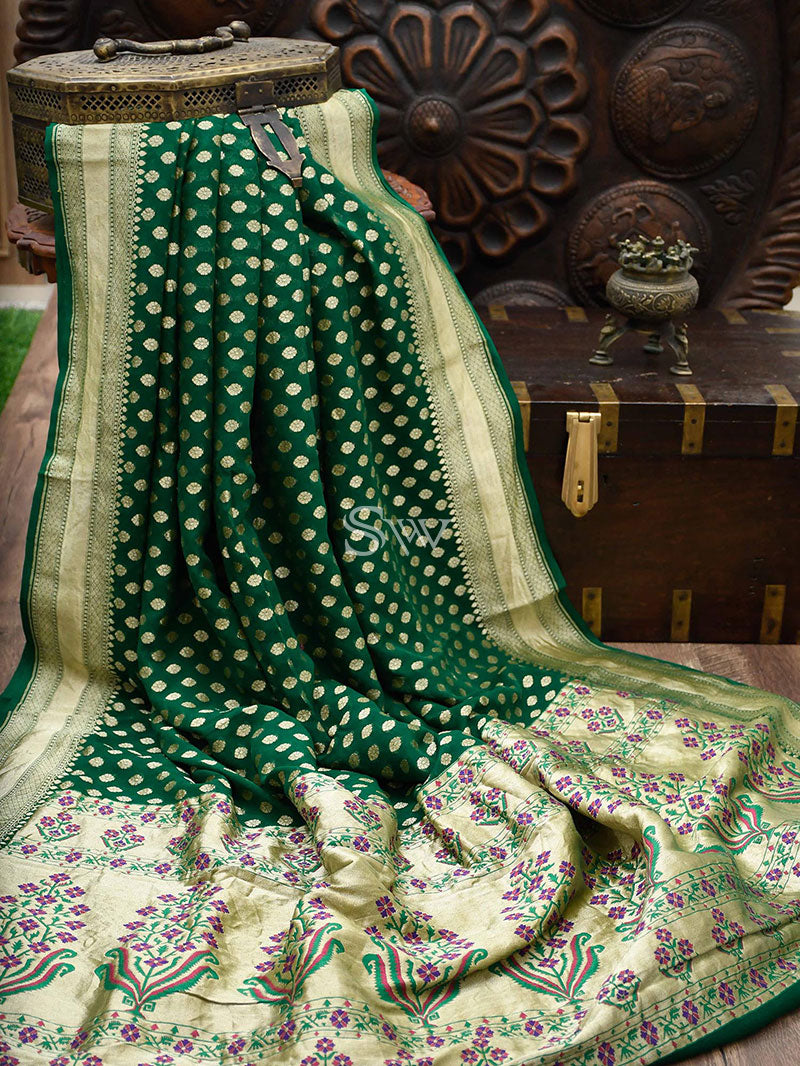 Dark Green Khaddi Georgette Banarasi Handloom Saree - Sacred Weaves