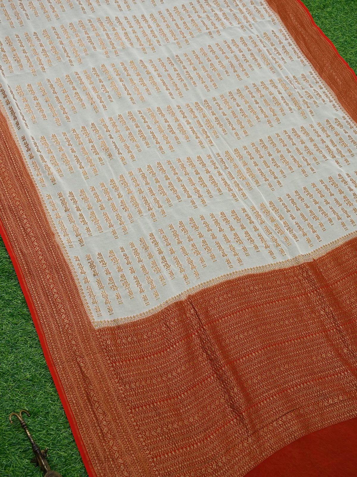 White Mantra Khaddi Georgette Banarasi Handloom Saree - Sacred Weaves